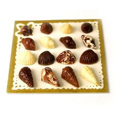 Belgian Chocolate Seashells - Dollhouse Miniature Food Handmade by CDHM Artisan Sarah Maloney of Dollhouse Kitchen, www.cdhm.org/user/willow