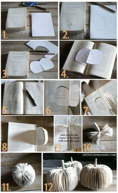 How to make DIY paper book pumpkins for a creative table place setting or to use as Halloween or Thanksgiving decor. How to make DIY paper book pumpkins for a creative table place setting or to use as Halloween or Thanksgiving decor. Folded Book Art, Paper Book, Book Folding, Old Book Crafts, Book Page Crafts, Diy Pumpkin, Pumpkin Crafts, Paper Pumpkin, Pumpkin Ideas