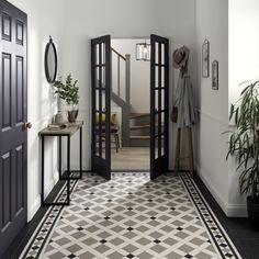 Victorian Floor Tiles by Original Style hallway Make with our .Victorian Floor Tiles by Original Style hallway Make an appearance with our stunning selection of traditional Victorian floor tiles. Victorian Hallway Tiles, Edwardian Hallway, Tiled Hallway, Modern Hallway, Victorian Flooring, Tile Entryway, Black Hallway, Hallway Art, Upstairs Hallway