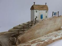 Driftwood designs by Kirsty Elson Clay Houses, Miniature Houses, Wooden Houses, Driftwood Beach, Driftwood Crafts, Wooden Art, Wooden Crafts, Beach Crafts, Home Crafts