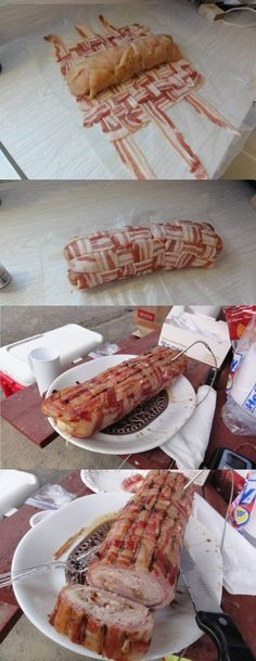 For the bacon lover in your life! Bacon weave stuffed w/ chicken, ham, cheese and more bacon. Pork Recipes, Chicken Recipes, Cooking Recipes, Chicken Ham, Bacon Roll, Bacon Weave, Pork Bacon, Good Food, Yummy Food