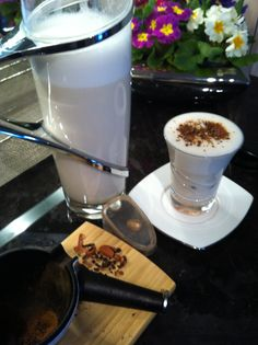 ECO Homemade ORGANIC sprouted almond milk:  organic almonds, filtered R/O water, EVCO, organic almond essence, pitted medjool dates and sunflower lecithin (optional), pinch of sea salt. Garnished with cacao nibs crunch