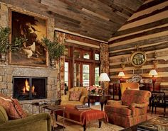 Featured in Architectural Digest, Toad Hall belongs to Kreis and Sandy Beall, and it sits on 32 acres in Tennessee. The architect was Jack Davis, and they brought Atlanta-based designer Suzanne Kasler in to give the log house some English Country Style. English Country Style, Country Style Homes, English Countryside, Modern Country, Modern Rustic, Modern Decor, Cabin Homes, Log Homes, Cabin Design
