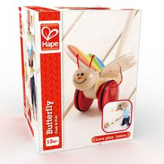 A gentle push or pull gets this butterfly's wings fluttering and your toddler's feet flying.  For ages 1 and up