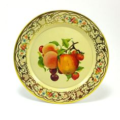 Daher Decorated Ware ~ Tin Fruit Print Plate ~ Made in Holland