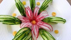 Vegetable Decoration, Food Decoration, Cucumber Flower, Free Kids Coloring Pages, Creative Food Art, Fruit And Vegetable Carving, Food Carving, Edible Food, Edible Art