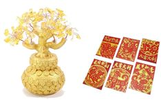"""Chinese New Year 7"""" Yellow Crystal Money Tree Gold Coin Pot   6 Red Dog Envelope #WePayYourSalesTax"""