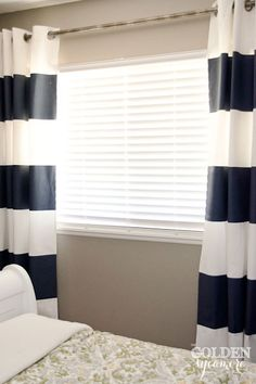 The Golden Sycamore: DIY Painted Stripe Curtains -- Coral?