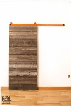 Possible Option for Downstairs Bedroom Closet Doors. Lots of color and finish options available...Weathered Horizontal Plank Barn Door - Real Sliding Hardware