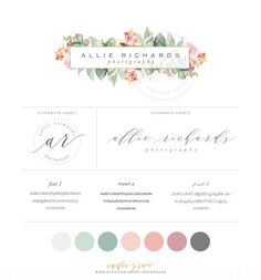 Watercolor Floral Logo design and Logo Stamp by IndieGrace