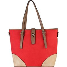Diophy 2-tone Faux Leather Large Tote Accented with Turn Lock Belt -... ($64) ❤ liked on Polyvore featuring bags, handbags, tote bags, red, vegan leather tote, vegan leather tote bag, faux leather tote, red tote handbag and faux leather purses