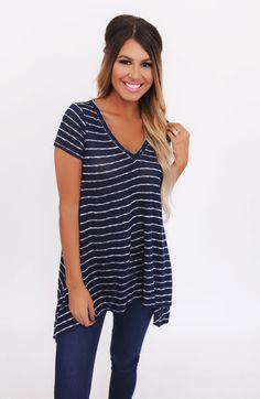 Navy/White Striped Knit V Neck - Dottie Couture Boutique
