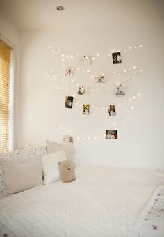 Show off your holiday cards on a strand of lights. Learn more at LightsOnline Blog. Fairy Lights On Wall, Fairy Lights Photos, Warm White Fairy Lights, Room Ideas Bedroom, Dream Bedroom, Bedroom Decor, Bedroom Wall, Bedroom Lamps, Wall Lamps
