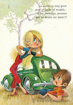 La veria es muy grave... Cute Characters, Cartoon Characters, Vintage Cards, Vintage Postcards, Baby Painting, Vintage Romance, Whimsical Art, Big Eyes, Funny People