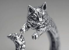 High detailed cat ring print model cat ring kitty, available in OBJ, STL, ready for animation and other projects Cat Jewelry, Animal Jewelry, Jewelry Shop, Silver Jewelry, Jewelry Design, Jewelry Art, Jewlery, Jewelry Accessories, Silver Rings