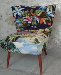 OMG love love love this fabric for this 1950s cocktail chair!