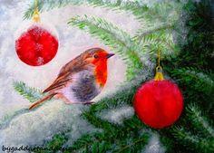 Robin on a Christmas tree by ByGaddArtandDesign on Etsy