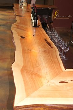 Live-edge juniper bar at Burnt Bridge Cellars in Vancouver, WA.