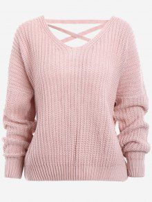 Back Lace Up Drop Shoulder Sweater PINK: Sweaters ONE SIZE | ZAFUL