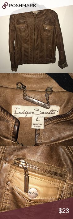 NWOT Faux Brown Leather Jacket Never worn, does not fit. Great condition indigo saints Jackets & Coats