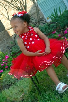 Minnie Mouse Tutu Dress Red and white. $59.99, via Etsy.