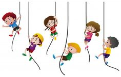Many kids climbing up the rope Free Vector Kids Climbing, Rope Climbing, Paper Banners, Illustration, Stationery Set, Kids Videos, Kids Sports, Happy Kids, Geometric Shapes