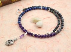 Pregnancy Trimester Tracking Necklace - Pick your charm - Starry Sky - Lapis lazuli, amethyst, labradorite: https://www.etsy.com/listing/183261633/pregnancy-trimester-tracking-necklace
