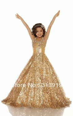 free shipping 2013 new style gold color girls pageant dresses long
