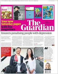 Portada de The Guardian (Reino Unido) Saturday Saturday, Newspaper Design, The Guardian, Depression, People, Internet, World, January 20, Printing Press