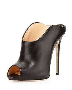 X2GB4 Giuseppe Zanotti Leather Peep-Toe Dip-Front Mule, Black