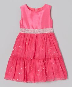 Take a look at this Fuchsia Sparkle Tiered Dress - Toddler & Girls by Rare Editions on #zulily today!