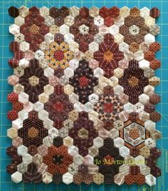 """hexie project - 1/2"""" hexis, used Spice Market and Toasted fabric lines"""