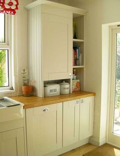 We desperately need to cover our boiler in the kitchen without blocking the window on the left hand side of the house! This would be perfect design idea. Kitchen Window Shelves, Kitchen Storage Boxes, Kitchen Cupboards, Book Shelves, Updated Kitchen, New Kitchen, Kitchen Decor, Kitchen Ideas, Hidden Kitchen