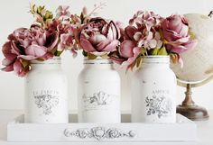 Jaya Raghuvanshi altered these jars for her home using the Iron Orchid Designs transfers and moulds.