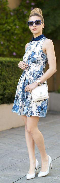 Closet Blue Baby Floral Scuba Skater Dress