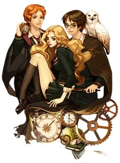 Image discovered by pinkpelotti. Find images and videos about anime, harry potter and hermione granger on We Heart It - the app to get lost in what you love. Fanart Harry Potter, Carte Harry Potter, Images Harry Potter, Mundo Harry Potter, Harry Potter Artwork, Harry Potter Drawings, Harry Potter Universal, Harry Potter Fandom, Harry Potter Characters