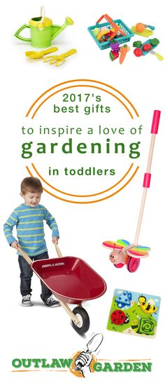 Gifts to Inspire a Love of Gardening in Toddlers! This gift list for toddlers includes garden tools, puzzles, games, and other gifts to motivate a lifetime of gardening love in your toddler or little kid.