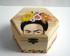 This item is unavailable - Frida Kahlo wooden jewelry box hand painted floral by beMimes - Painted Wooden Boxes, Painted Jewelry Boxes, Wooden Diy, Hand Painted, Wooden Box Crafts, Jewerly Box Diy, Posca Art, Woodworking Box, Jewellery Boxes