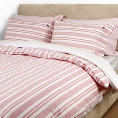 Country Pink/White Pin Point Striped Duvet Cover - King
