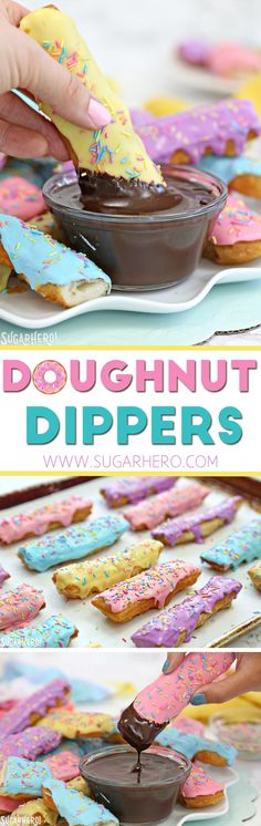 Doughnut Dippers - super easy homemade doughnuts with warm mocha sauce! | From SugarHero.com