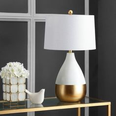 Safavieh Kingship 24 in. White/Gold Gourd Table Lamp with Off-White Shade (Set of - The Home Depot Gold Table, White Table Lamp, Table Lamp Sets, Touch Lamp, Contemporary Table Lamps, The Help, Modern, Gourd, Home Decor