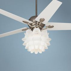 "white ceiling fans with chandeliers | 52"" Casa Optima White Flower Ceiling Fan - #86646-32431-K9774 ..."