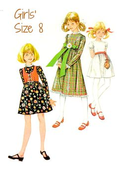 70s GIRLS' DRESS and VEST Sewing Pattern  1970 by KeepsakesStudio Childrens Sewing Patterns, Sewing For Kids, Vintage Sewing Patterns, American Girl Doll Julie, Sewing Circles, Doll Costume, Special Occasion Dresses, Dress Vest, Going Out