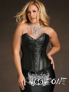 Classic Route 66 Zone Faux Leather Over Bust Zipper & Lace Up Bustier Corset