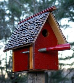 460B  Rustic wood birdhouse on post with vintage screwdriver perch/embellishment recycledbirdhouse.com