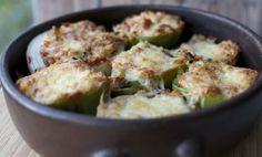 Pimentones, Zapallitos y/o cebollas rellenos con arroz y carne