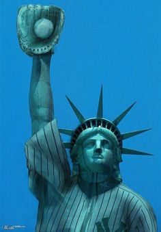 Miss Liberty down with the Yankees