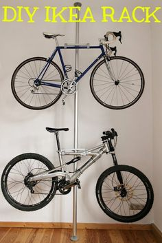 Here's a double bike rack made from a Stolmen post ($30), 2 brackets, and 4 hooks, all from IKEA. Click here for the full tutorial.
