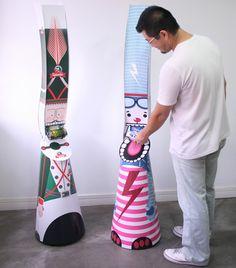 displays gravitacionais para latas de bebidas inspirados em Toy Art. How cool is that?! #toyovky #toyosan