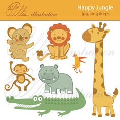 Happy Jungle clipart comes with 7 beautiful graphics including Koala, monkey, hippo, bird, alligator, giraffe and lion.